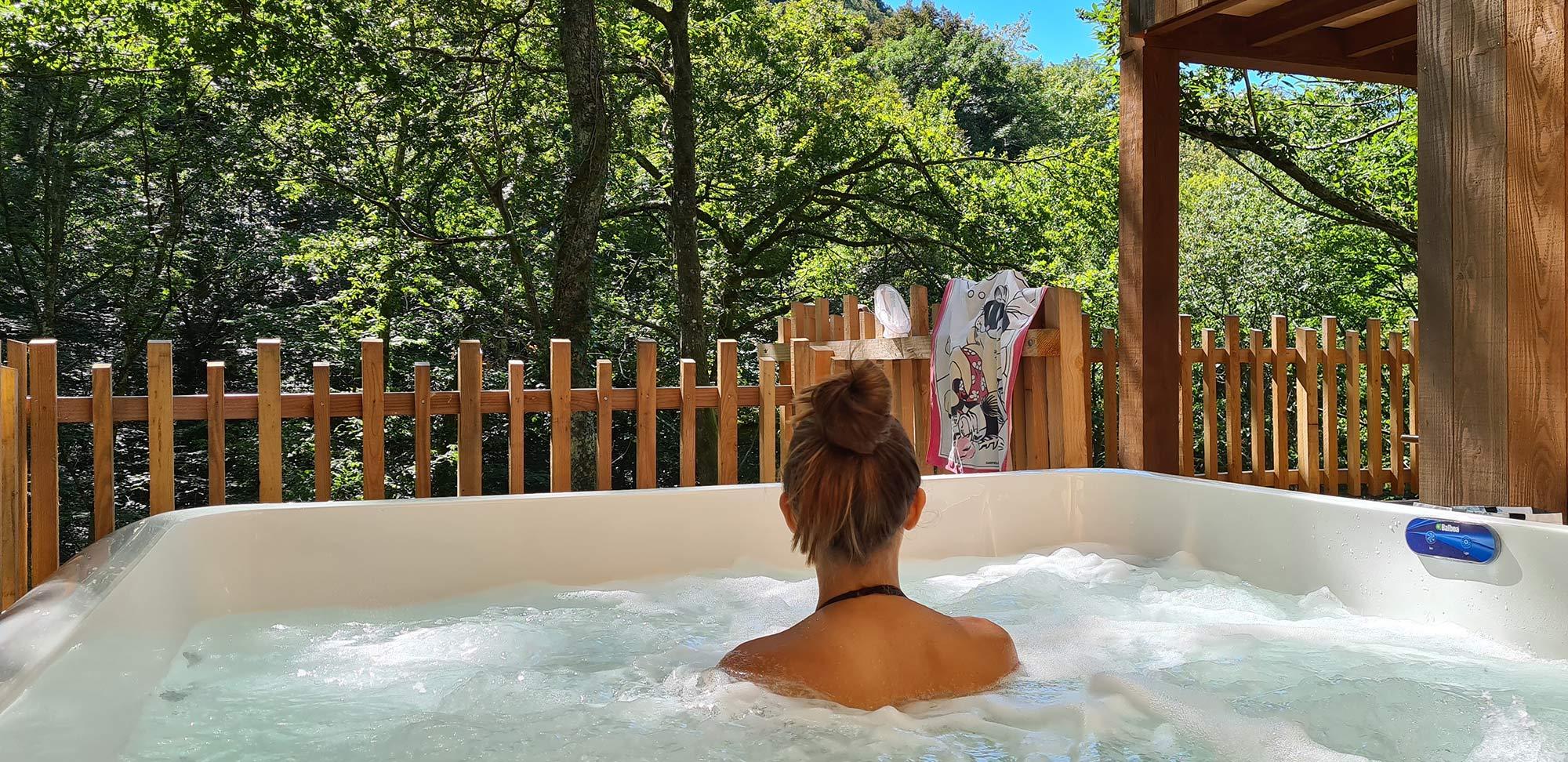 private spa full of nature terrace cabin