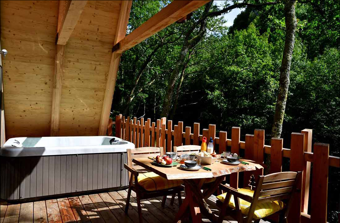 terrace with jacuzzi forest mountain